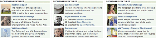 Sponsored Features section on The Telegraph Sports index page
