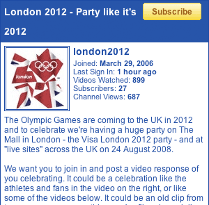 London 2012 YouTube channel details