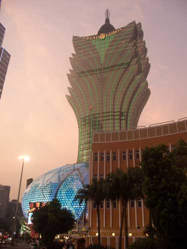 Grand Lisboa Casino at dusk