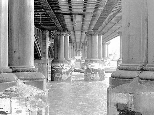 A photograph of the underside of the demolished bridge