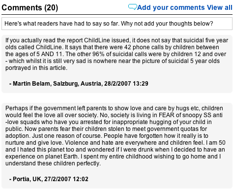 Changed comment on the Daily Mail