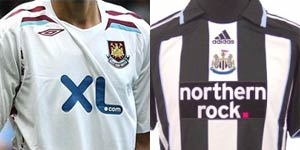 West Ham and Newcastle shirts
