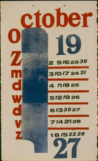 H.N. Werkman calendar for October 1927