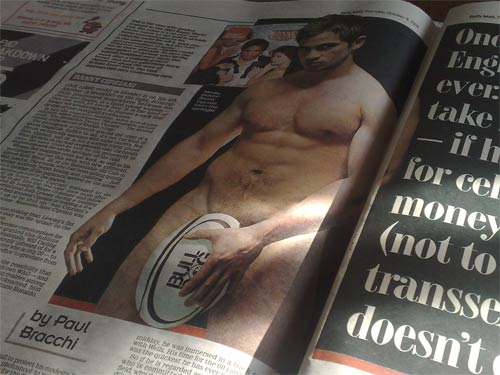 Naked Danny Cipriani in the Daily Mail