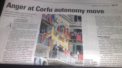 Athens News Corfu story