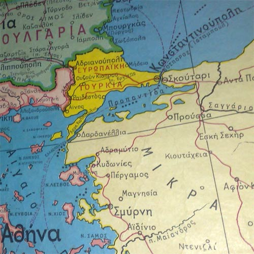 turkey depicted on a greek map