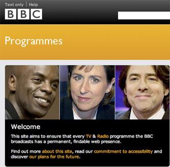 BBC Programmes homepage
