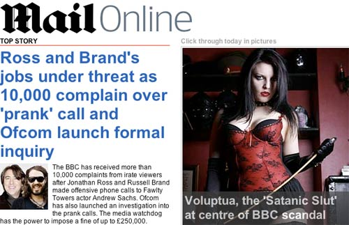 Mail Online covergae of the scandal