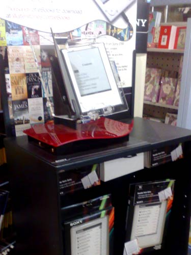 Sony E Reader on display in Waterstones