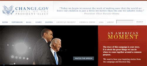 Barack Obama 'Change' website