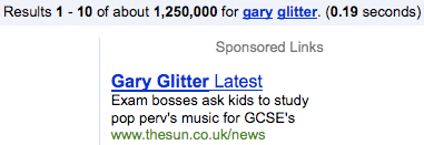 The Sun's Gary Glitter advert