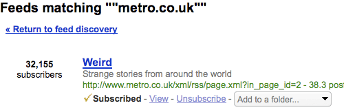 Metro Weird feed numbers