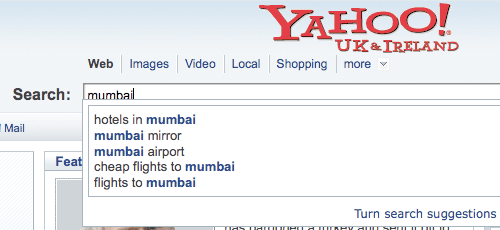 Yahoo! Suggest for the term Mumbai