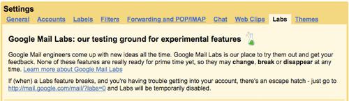 Gmail Labs tab