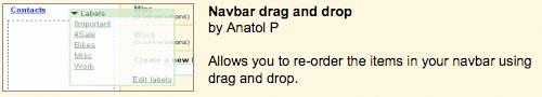 Gmail navbar drag and drop feature