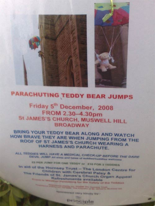 'Parachuting Teddy Bear Jumps' poster