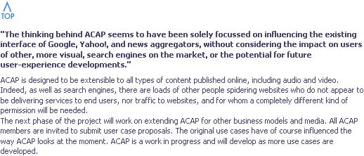 ACAP FAQ excerpt