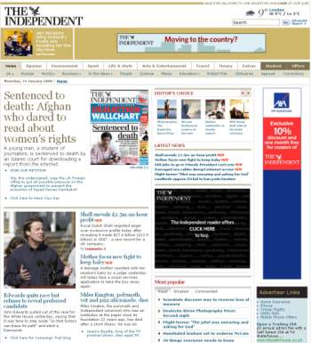 The Independent's new homepage