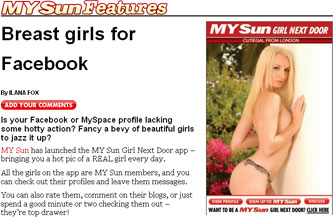 The Sun Facebook and MySpace applications promo