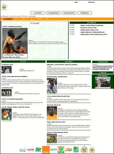 Website of the FA of the Ivory Coast
