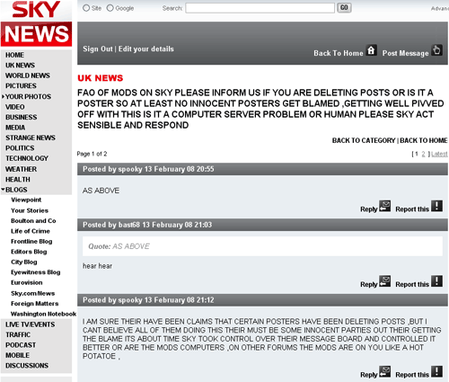 Sky News message boards