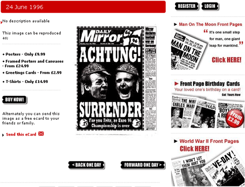 Achtung! Surrender Mirror front page for sale