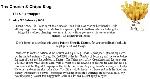 Church and Chips blog printed edition