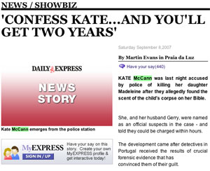 Confess Kate story from the Sunday Express