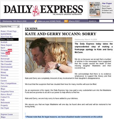 Daily Express online apology