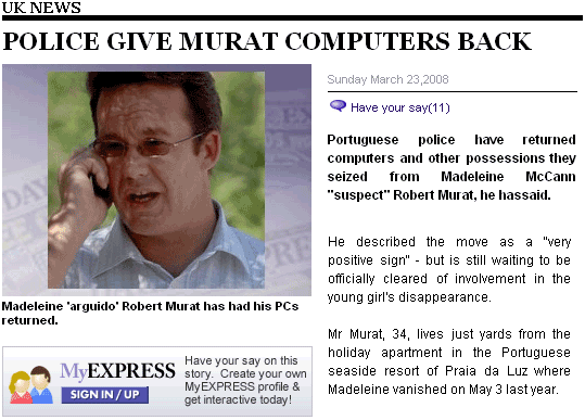 Daily Express article about Murat