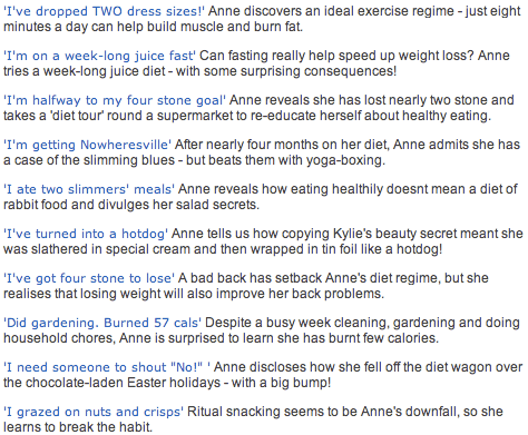 Anne's defunct diet diary