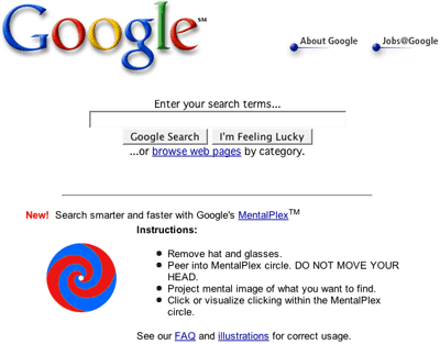 Google Mentalplex homepage