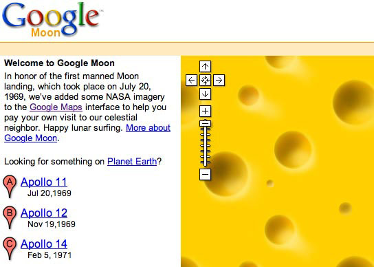 Google's Moon was made of cheese