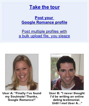 Google Romance testimonials