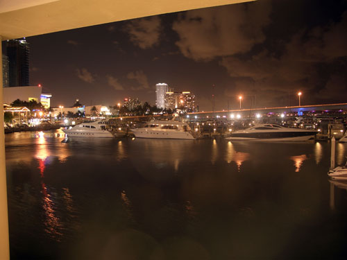 Miami Bayside at night