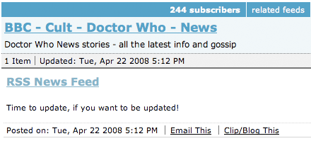 Doctor Who Bloglines subscriptions