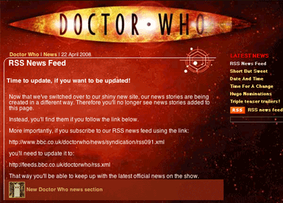 Doctor Who site announcement