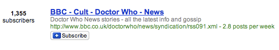 Doctor Who subscriptions in Google Reader