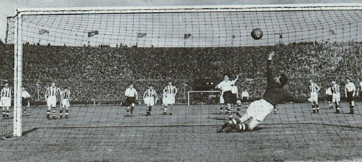 A picture of Preston North End scoring a penalty in the 1938 F.A. Cup Final