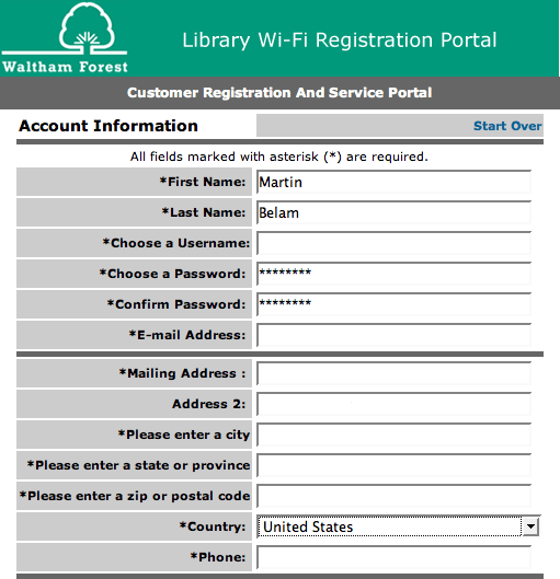 Waltham Forest wifi registration form