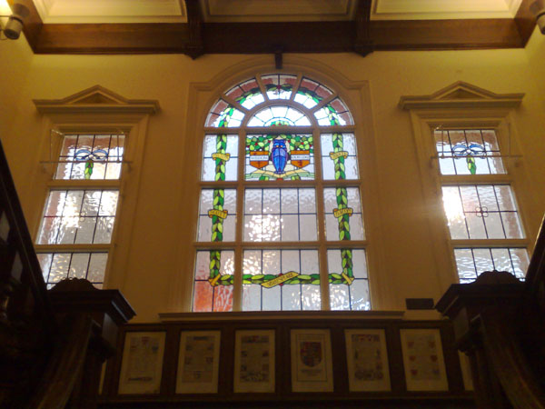Picture of the stained glass window in Walthamstow's Central library
