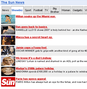 The Sun's headline Google Gadget
