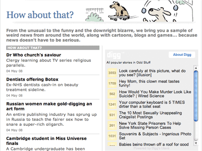 The Digg widget on The Telegraph's page