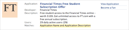 Financial Times Facebook applications