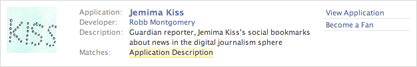 Jemima Kiss Facebook application