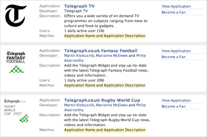 Telegraph Facebook apps