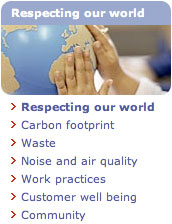 World respect section from the British Airways website