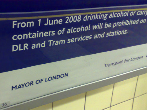 Close-up of the anti-drinking poster branding
