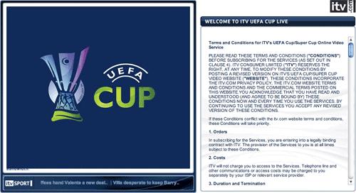 ITV's UEFA Cup service