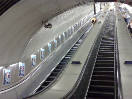 Picture of escalators at Green Park Underground station
